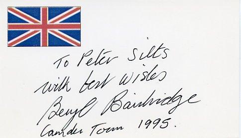 English Novelist BERYL BAINBRIDGE Hand Signed Card 1995
