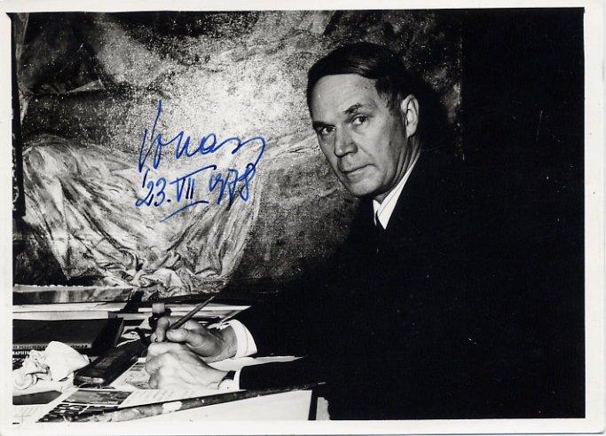 Estonian Painter EVALD OKAS Hand Signed Photo 5x7 from 1978