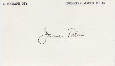 1981 Nobel Prize Economics JAMES TOBIN Autographed Card 1982