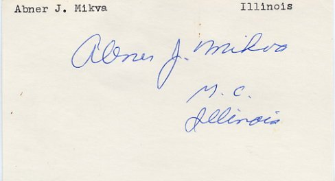 Illinois Representative ABNER J. MIKVA Hand Signed Card 1970s