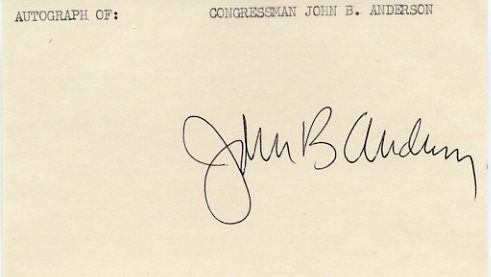 Illinois Representative JOHN B ANDERSON Hand Signed Card 1970s