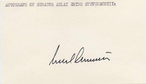 Illinois Senator ADLAI STEVENSON III Hand Signed Card 1970s
