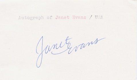 1988 Seoul & 1992 Barcelona Swimming Star JANET EVANS Autograph 1988