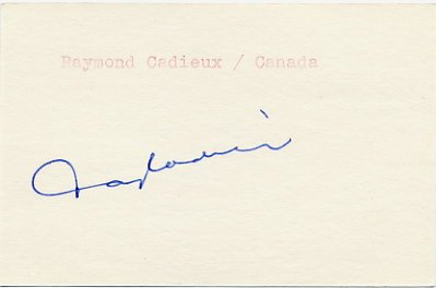 1968 Grenoble Ice Hockey Bronze RAY CADIEUX Autograph 1980s