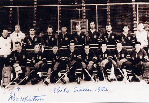 1952 Oslo Ice Hockey Silver DONALD WHISTON Hand Signed Photo