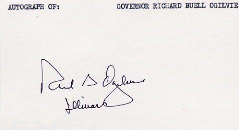 1969-73 Illinois Governor RICHARD OGILVIE Hand Signed Card 1980 #2