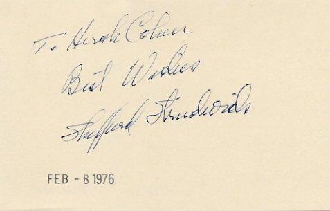 American Actor SHEPPERD STRUDWICK Autographed Card 1976 #3