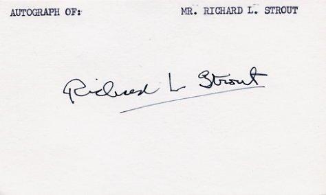Pulitzer Prize Journalist RICHARD STROUT Autographed Card 1970s