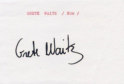 Legendary Marathon Runner GRETE WAITZ Autograph 1989 #2