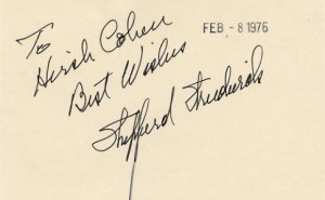 American Actor SHEPPERD STRUDWICK Autographed Card 1976 #5