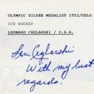 1952 Oslo Ice Hockey Silver LEONARD CEGLARSKI Autographed Card