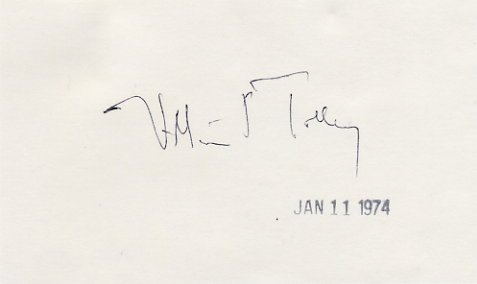 American Educator Syracuse University WILLIAM TOLLEY Autographed Card 1974