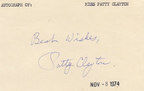American Singer & Songwriter PATTY CLAYTON  Autographed Card 1974