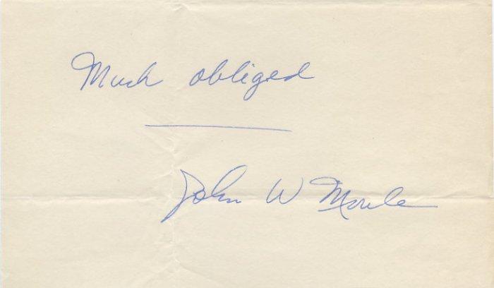 1955 Michigan Big 10 Miler JOHN MOULE Autograph 1950s