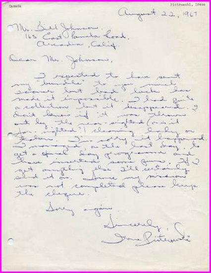 1964 Tokyo & 1968 Mexico City Sprints Olympian IRENE PIOTROWSKI Autograph Letter Signed 1967