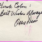 American Actor OSSIE DAVIS Autographed Card 1986