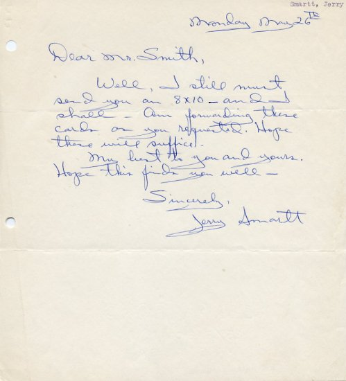1950s American Distance Runner JERRY SMARTT  Autograph Letter Signed