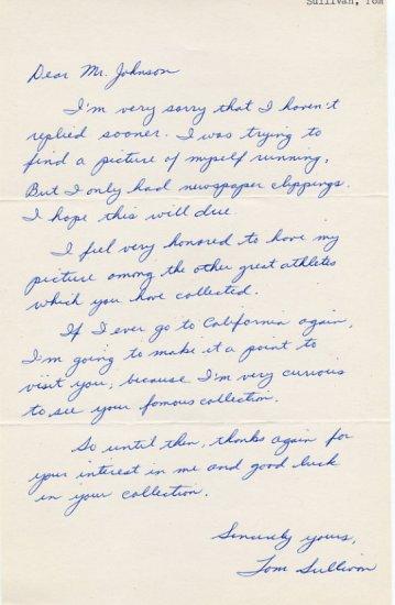 St. George Track Star - Miler TOM SULLIVAN  Autograph Letter Signed 1961