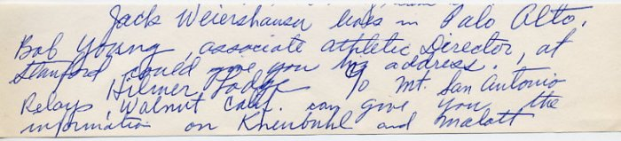 1930s Stanford Track Star & Washington Head Track Coach STAN HISERMAN Autograph Note