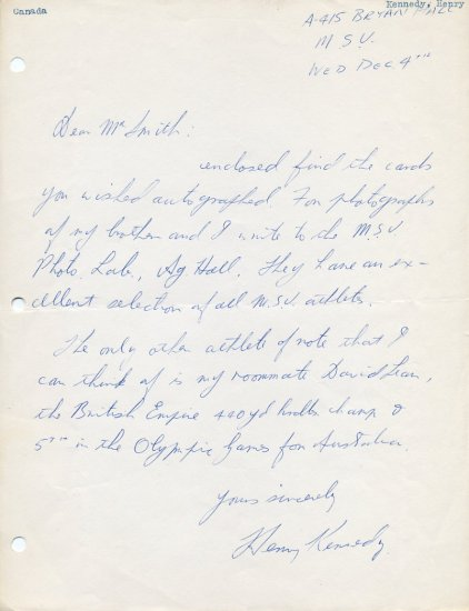 Michigan State - 1955-56 Big Ten Cross Country Champion HENRY KENNEDY Autograph Letter Signed 1950s