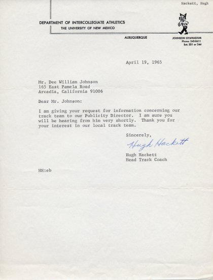 Legendary New Mexico Head Track Coach HUGH HACKETT Typed Letter Signed 1965