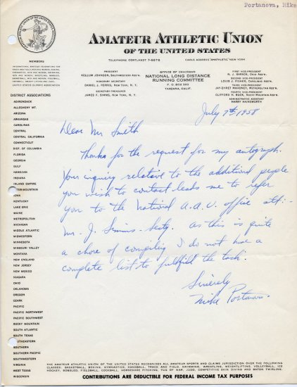 1930s American Distance Runner MIKE PORTANOVA  Autograph Letter Signed 1958