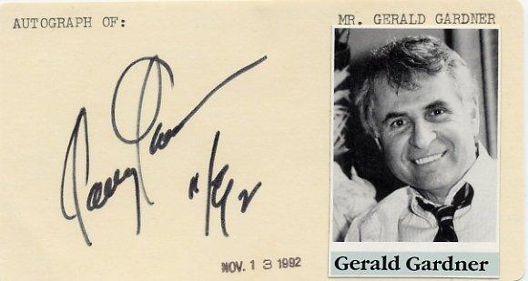 Author & Scriptwriter GERALD GARDNER Hand Signed Card 1992