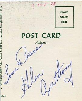 American Comedian & Impressionist GLEN ANTHONY Autograph 1978