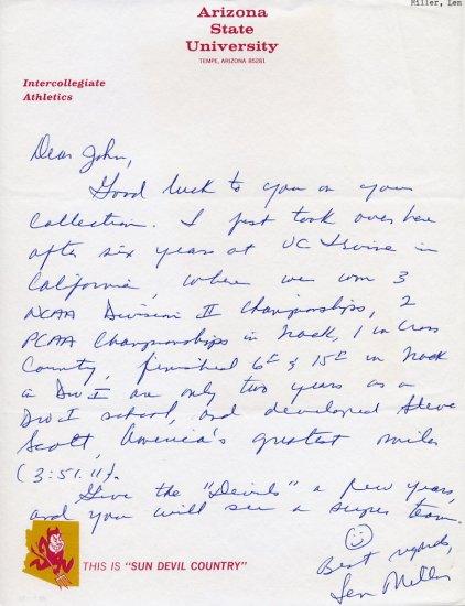 Arizona State Head Track Coach LEN MILLER Autograph Letter Signed 1980