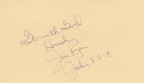 Legendary Miler & 1968 Olympian JIM RYUN Autographed Card 1970s
