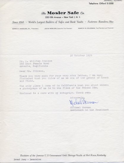 1959 NYU Track Star MIKE HERMAN Typed Letter Signed 1959 Mosler Safe Company Letterhead