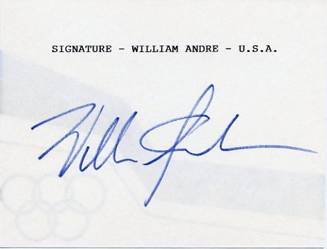 1956 Melbourne Modern Pentathlon Silver WILLIAM ANDRE Hand Signed Card