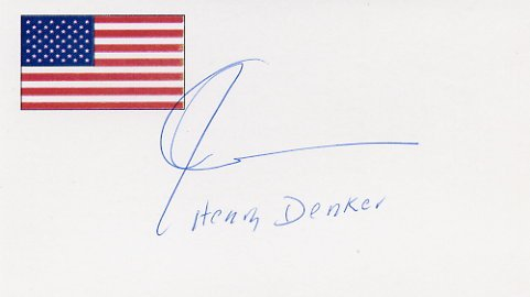 American Novelist & Playwright HENRY DENKER Autographed Card