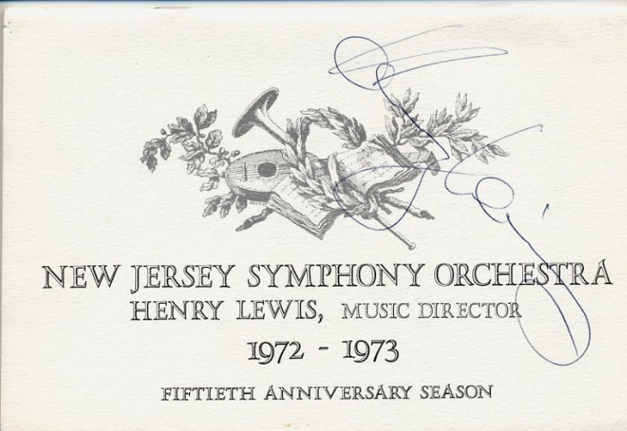 Pioneer Black Classical Music Conductor HENRY LEWIS Hand Signed Brochure