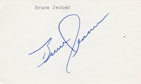 1976 Montreal Athletics Decathlon Gold & WR BRUCE JENNER Autograph 1980s