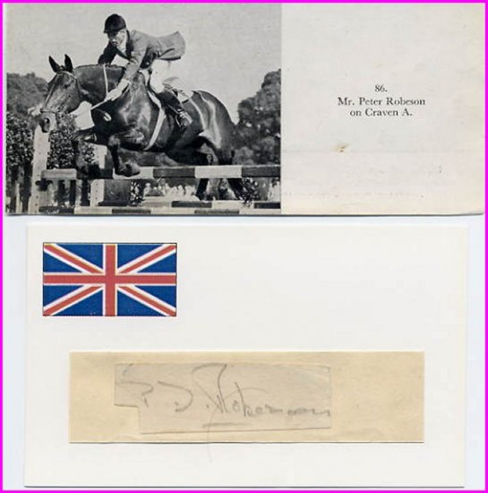 1956 Stockholm & 1964 Tokyo Equestrian Bronze PETER ROBESON Autograph 1950s & Pict