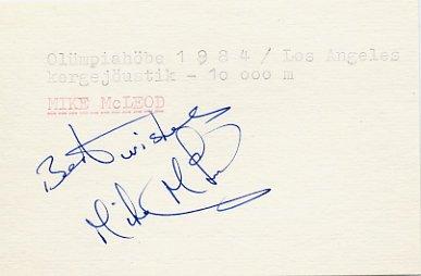 1984 Los Angeles Athletics 10000m Silver MIKE Mc LEOD  Autograph 1980s