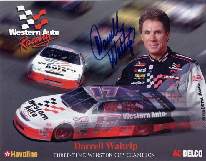 Three-Time NASCAR Champion Driver DARRELL WALTRIP Hand Signed Western Auto Photo Card 7x9