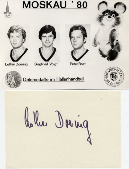 1980 Moscow Handball Gold LOTHAR DOERING Autograph 1980 & Pict