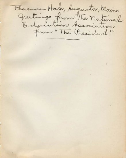 President of  National Education Association FLORENCE HALE Autograph Note Signed 1930s