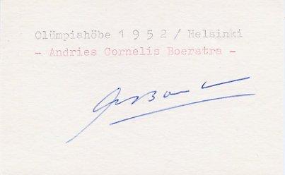 1948 London & 1952 Helsinki Field Hockey Medalist  ANDRIES BOERSTRA Autograph 1980s
