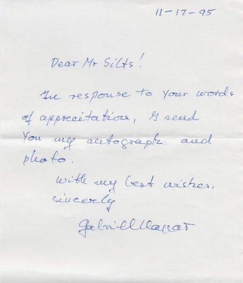 Concert Cellist GABRIEL MAGYAR Autograph Letter Signed 1995