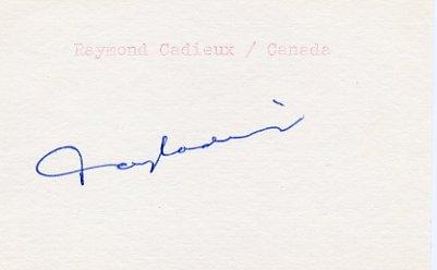 1968 Grenoble Ice Hockey Bronze RAYMOND CADIEUX Autograph 1980s #2