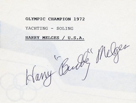 1972 Munich Yachting Gold HARRY MELGES Autographed Card #2