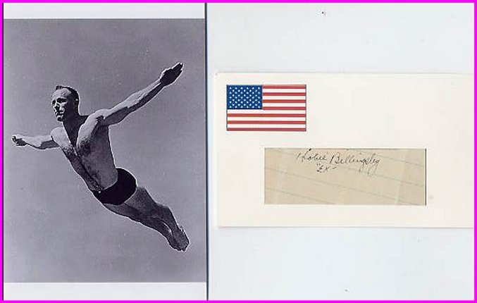 Indiana & Olympic Diving Coach & 1996 Olympic Oath HOBIE BILLINGSLEY Autograph 1950 & Pict