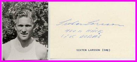 1946 Oslo European Championships 400m Hurdles Silver SIXTEN LARSSON Autograph & Pict