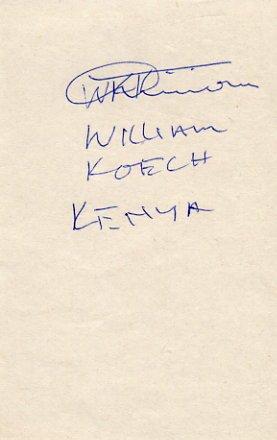 Kenya - 1992 Barcelona 10000m Olympian WILLIAM KOECH Autograph