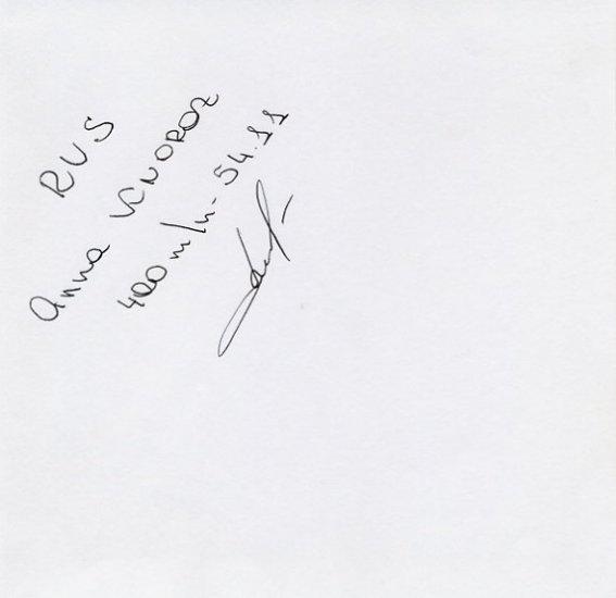 1994 European Championships 400m Hurdles Bronze ANNA KNOROZ Autograph