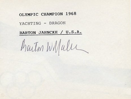 1968 Mexico City Yachting Gold BARTON JAHNCKE Autographed Card #3