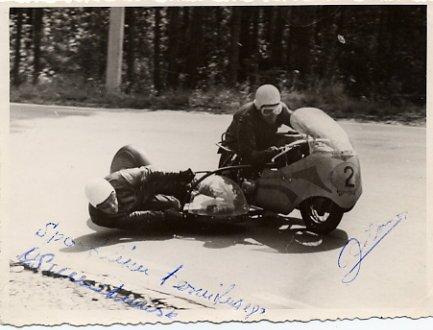 Legendary Estonian Motorcycle Racers PLOOM / SUURKUUSK Autographed Photo 1960s